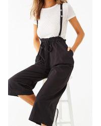 Forever 21 Suspender Paperbag Culottes , Black