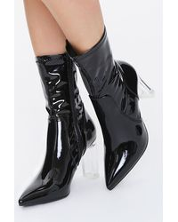 Forever 21 Faux Patent Leather Lucite Heel Booties - Black
