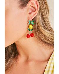 Forever 21 Cherry & Pineapple Drop Earrings - Red