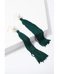 Forever 21 Fringe Duster Earrings , Green
