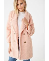 Forever 21 Faux Shearling Trench Coat , Dusty Pink