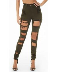 Forever 21 Distressed Skinny Jeans , Olive - Green