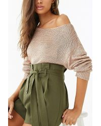 Forever 21 - Sheer Metallic Ribbed Knit Sweater - Lyst