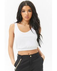 6df9fdac59b Forever 21 Scoop Back Cropped Tank Top in White - Lyst