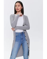 Forever 21 Buttoned Duster Cardigan - Gray