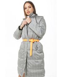 Forever 21 Longline Glen Plaid Puffer Coat , Black/ivory - Gray
