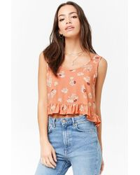 Forever 21 - Ruffled Floral Crop Top - Lyst
