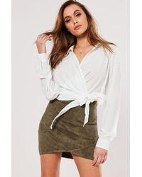 Missguided Faux Suede Mini Skirt At , Khaki - Multicolour