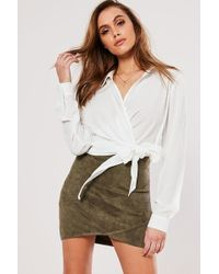 Missguided - Faux Suede Mini Skirt At - Lyst
