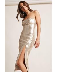 Forever 21 Front-slit Metallic Strapless Dress , Gold
