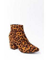 Forever 21 Faux Suede Leopard Print Booties , Black/brown