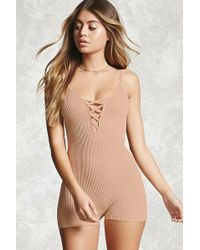 Forever 21 - Ribbed Knit Lace-up Romper - Lyst