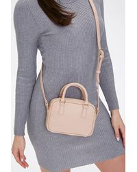 Forever 21 Twin Top Handle Crossbody Bag In Taupe - Multicolor