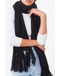Forever 21 Cable Knit Oblong Scarf - Black