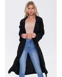 Forever 21 Double-breasted Trench Co - Black