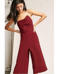 b7cab21584e Lyst - Forever 21 Soieblu Open-shoulder Embroidered Jumpsuit in Black