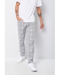 Forever 21 Glen Plaid Slim-fit Pants - White