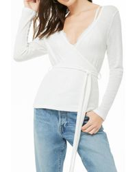 Forever 21 - Marled Ribbed Surplice Top - Lyst