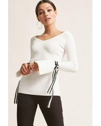 Forever 21 - Ribbed Bell-sleeve Knit Top - Lyst