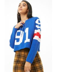 Forever 21 Lace-up Varsity-striped Sweater , Blue/white
