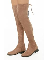 Forever 21 - Women's Faux Suede Thigh-high Boots - Lyst