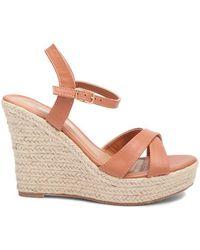 537ef9c21a0 Forever 21 Qupid Striped Twist-front Wedge Espadrille Slide Sandals ...
