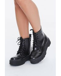 Forever 21 Lug-sole Combat Boots - Black