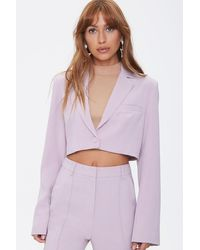 Forever 21 Cropped Notched-lapel Blazer - Purple