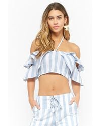 Forever 21 - Striped Crop Top & Lace-up Trousers Set - Lyst