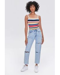 Forever 21 Distressed Mom Jeans - Blue