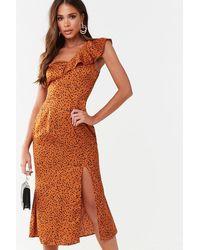 Missguided Cheetah Print One-shoulder Dress At , Orange/black