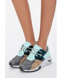 Forever 21 Paneled Low-top Sneakers In Taupe, Size 10 - Multicolor