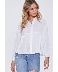 Forever 21 Flounce Gauze Shirt - White