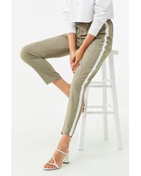 Forever 21 Striped-trim Track Pants - Green