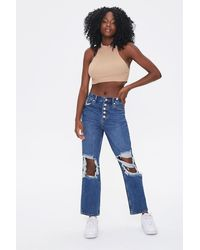 Forever 21 Distressed Mom Ankle Jeans - Blue