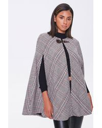 Forever 21 Plaid Open-front Cape In Black/tan