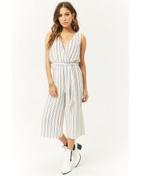 Forever 21 - Striped Surplice Jumpsuit - Lyst
