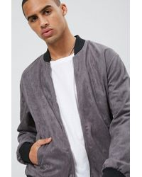 a3ecd0dd8 's Faux Suede Zip-up Bomber Jacket - Gray