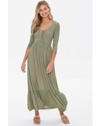Forever 21 Plunging Lace-up Maxi Dress - Green