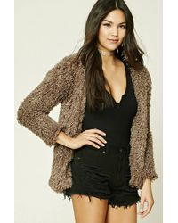 Forever 21 - Fuzzy Knit Jacket - Lyst