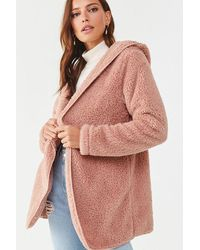 Forever 21 Hooded Faux Fur Jacket , Pink