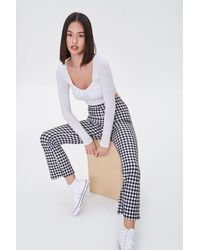 Forever 21 Gingham Flare Pants - Multicolor