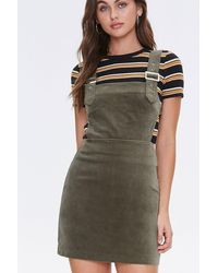 Forever 21 Faux Suede Overall Dress - Green