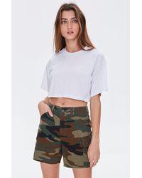 Forever 21 Camo Cargo Shorts - Green