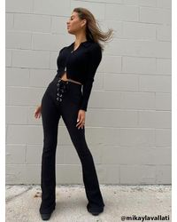 Forever 21 Ribbed Lace-up Pants - Black