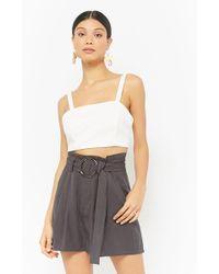 Forever 21 Belted Paperbag Shorts - Gray