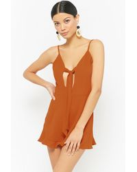 f3fac5d22dd Forever 21 - Women s Chiffon Tie-front Playsuit - Lyst