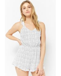 Forever 21 - Dotted Open-back Playsuit - Lyst