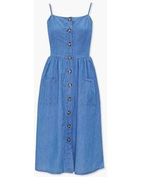 Forever 21 Chambray A-line Dress - Blue