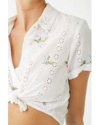 Forever 21 Floral Embroidered Eyelet Shirt , Ivory/multi